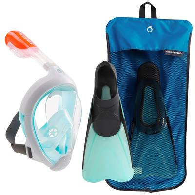 Kit de snorkeling masque Easybreath palmes bleu turquoise noir