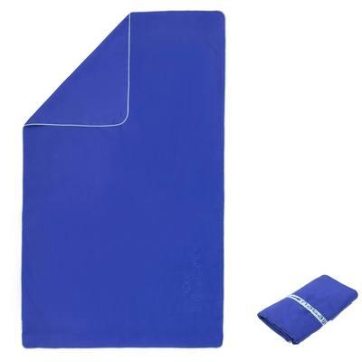 Serviette microfibre bleu ultra compacte taille L 80 x 130 cm