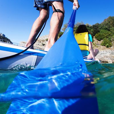 PAGAIE STAND UP PADDLE 100 DEMONTABLE REGLABLE 170-210 CM BLEU