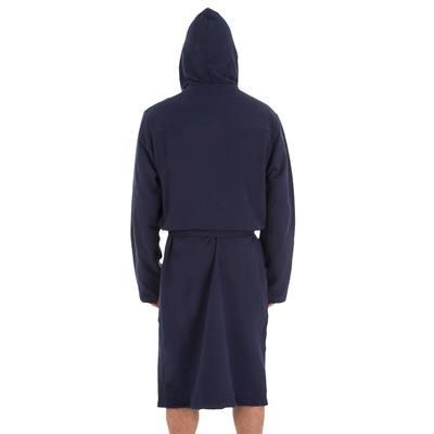 Peignoir coton léger natation homme bleu foncé avec ceinture, poches et  capuche.     497f7d1b8b1