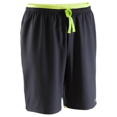 Short de football adulte F500 noir jaune