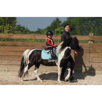 Croupière pour selle poney synthétique INITIATION marron et bleu ciel