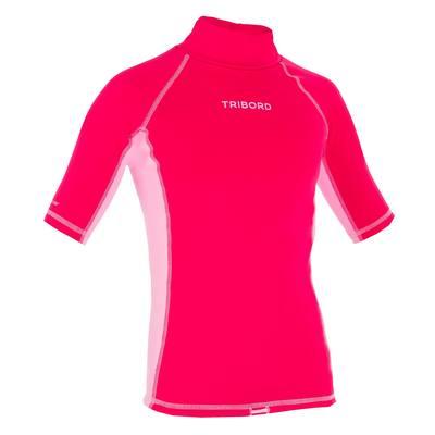tee shirt anti UV surf top thermique manches courtes enfant rose