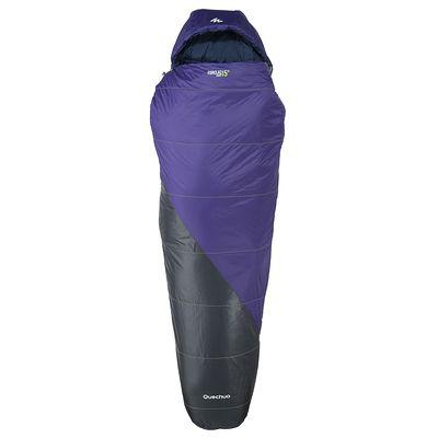 Sac de couchage de randonnée FORCLAZ 15° LIGHT violet zip droit