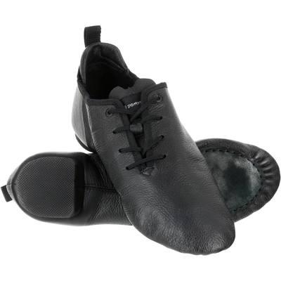 Chaussons de danse moderne en cuir souple à bi-semelle noir