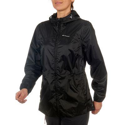 Veste Imperméable randonnée nature femme Raincut Zip noire