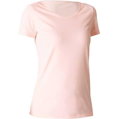 954b4bd6ced ... BLANC T-shirt 100% coton Sportee 100 Pilates Gym douce femme rose clair