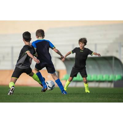 Chaussettes hautes de football enfant F500 jaunes fluos