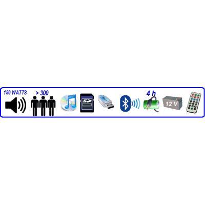 SONORISATION CD USB BLUETOOTH 150 WATTS