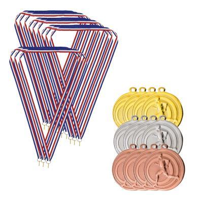 Lot de 12 médailles Cross/Running avec cordon BIEMANS - Cross