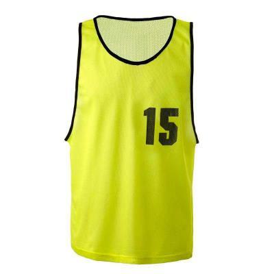 Lot chasubles de sport numérotées de 11 à 15 jaunes
