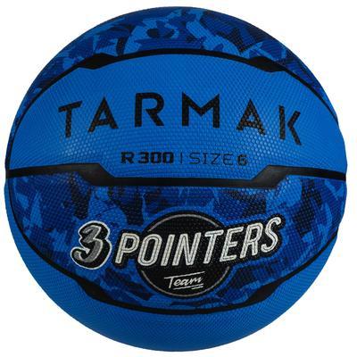 Ballon de basket R300 taille 6 bleu pour fille garçon et femme pour débuter