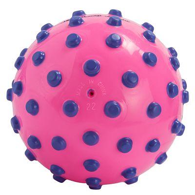 Ballon rose avec picots violets en mousse. Environ 15 cm diamètre