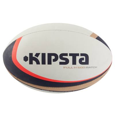 Ballon rugby Full H 500 taille 4 blanc marron