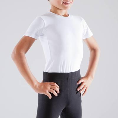 T-shirt manches courtes blanc de danse garçon.