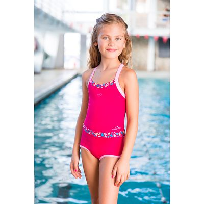 Maillot de bain de natation fille une pièce shorty Debo Light Mozi Rose