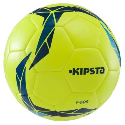 Ballon de football F500 hybride taille 4 jaune bleu