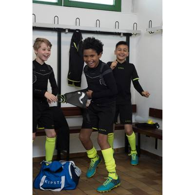 Short de football enfant F500 noir vert
