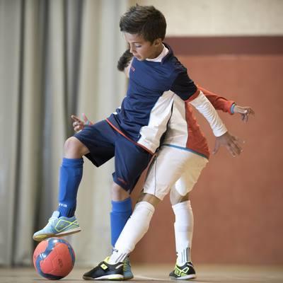 Chaussettes hautes de football enfant F500 bleues