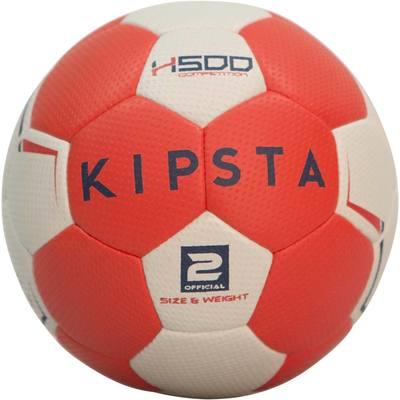 Ballon de handball hybride H500 Taille 2 rouge et gris