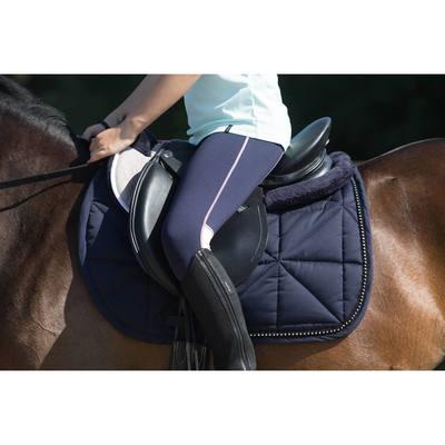 """Selle polyvalente en cuir équipée équitation cheval, poney SCHOOLING noir 16""""5"""