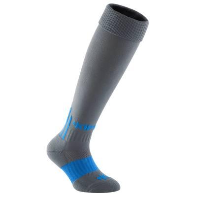 Chaussettes hautes football enfant F 500 gris bleu