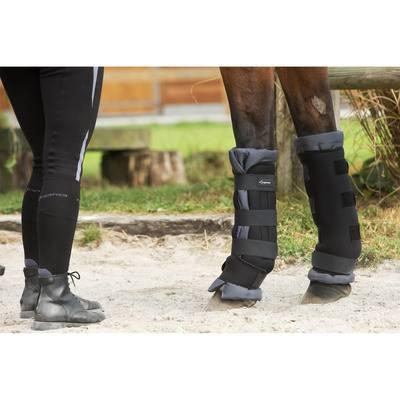 2 guêtres de repos avec cotons intégrés équitation cheval noir