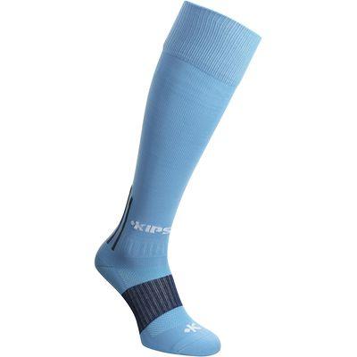 Chaussettes hautes de football adulte F500 bleues