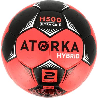 dbc89a5b97ae2 ... Ballon de handball adulte hybride H500 Taille 2 rose et noir ...