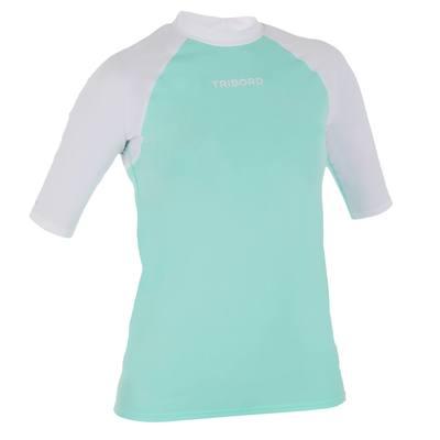 tee shirt anti uv surf top 100 manches courtes femme bleu blanc