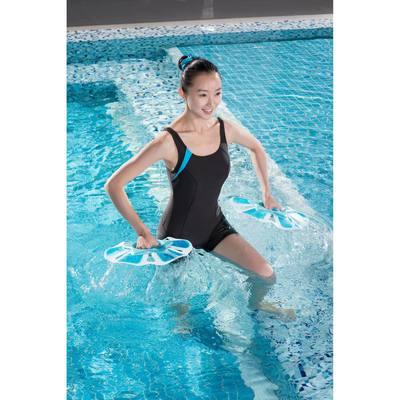 Maillot de bain d'aquagym femme une piece shorty Aquanew marron bleu