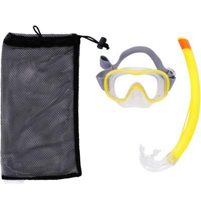 Kit masque tuba de snorkeling SNK 500 adulte et enfant jaune