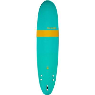 """Planche de surf en mousse 7'8"""" 100. Livrée avec un 1 leash et 3 ailerons."""
