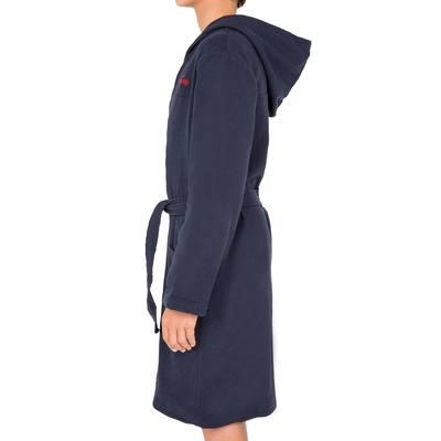 Peignoir coton léger natation enfant bleu marine avec ceinture, poche et  capuche.     0e5715e1fc0