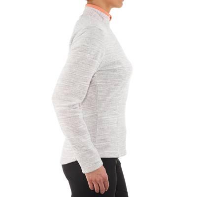 Polaire de randonnée montagne femme Forclaz 50 print blanc chiné