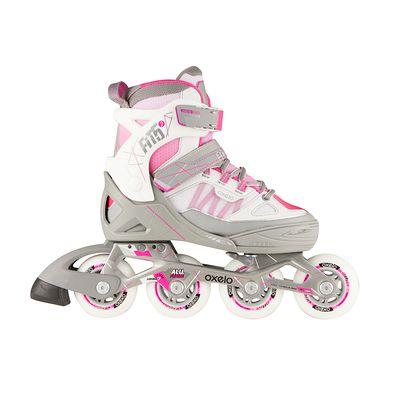 Roller fitness enfant FIT 5 JUNIOR rose blanc