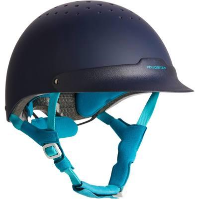 Casque équitation C120 bleu marine et turquoise