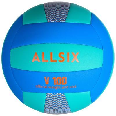 Ballon de volley-ball V100 bleu et vert ALLSIX