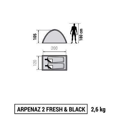 Tente de camping ARPENAZ 2 FRESH&BLACK | 2 personnes blanche