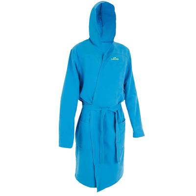 Peignoir microfibre natation homme bleu avec capuche, poches et ceinture