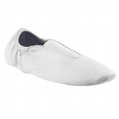 Chaussons Bi-semelles Cuir Gym blanc.