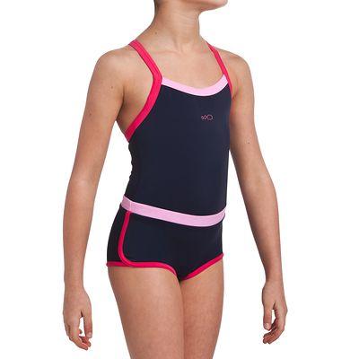 Maillot de bain de natation fille une pièce shorty Debo light bleu rose