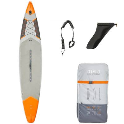 """STAND UP PADDLE GONFLABLE RANDONNEE COURSE 500 / 12'6-29"""" ORANGE"""