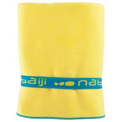 Serviette microfibre jaune ultra compacte taille L 80 x 130 cm