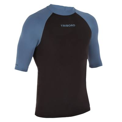 tee shirt anti uv surf top 100 manches courtes homme Noir gris