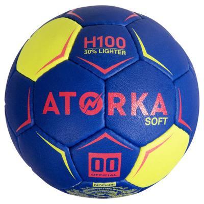Ballon de handball H100 soft T00 bleu et rose