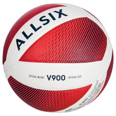 Ballon de volley-ball V900 blanc et rouge ALLSIX