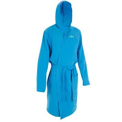 67a353d892533 Peignoir homme bleu clair compact et microfibre avec capuche, poches et  ceinture