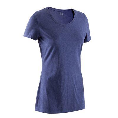 T-shirt coton elasthanne Athletee fitness Essentiel femme bleu chiné  S