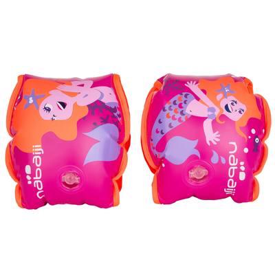 "Brassards natation rose imprimé ""Sirène "" intérieur tissu enfant 15 -30 kg"